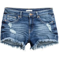 Denim Shorts $19.99 (1,360 INR) ❤ liked on Polyvore featuring shorts, bottoms, denim short shorts, denim shorts, destroyed shorts, distressed jean shorts and blue denim shorts