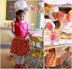 cutest little chef's party with strung cupcake liners  love the cupcake liners!