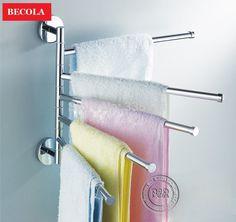 Falding aço inoxidável moda toalheiro banheiro barra de toalha de banho móvel RB-88004 alishoppbrasil