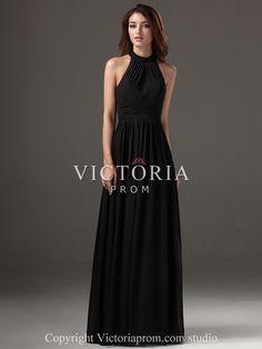 Formal Evening Black Chiffon A-Line Floor Length Halter Prom Dress-US$93.99- StyleP2404-Victoria Prom