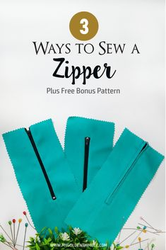 Sewing Techniques Couture How to Sew a Zipper - Learn how to Sew a Zipper with these 3 easy techniques. You will learn how to insert a Hidden Zipper, an Exposed Zipper, and a Welt Zipper. Look at the end of the post for the Free Sewing Pattern Sewing Hacks, Sewing Tutorials, Sewing Crafts, Sewing Tips, Sewing Basics, Basic Sewing, Sewing Lessons, Dress Tutorials, Sewing Ideas