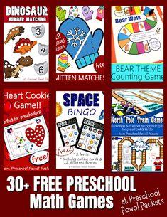Free Math Games, Preschool Math Games, Homeschool Preschool Curriculum, Free Preschool, Valentines Games, Space Games, Mathematics, Free Printables, Learning