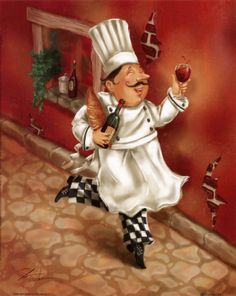 Chef / Images for decoupage / great for kitchen Wine Theme Kitchen, Kitchen Themes, Kitchen Art, Kitchen Icon, Fat Chef Kitchen Decor, Canvas Art, Canvas Prints, Art Prints, Chef Pictures