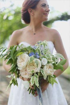 white garden rose bouquet