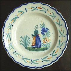 Antique Quimper French Faience platter