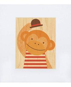 Petit Collage Wood Print Hello Monkey - Buy Online Australia | Moo Said the Cow Moo Said the Cow