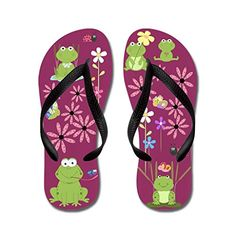 Gueskie Happy frogs flip flops Adults SPink >>> For more information, visit image link.