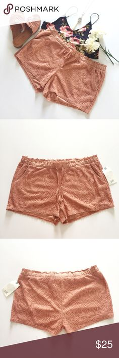 Pink Lace Drawstring Shorts Pink lace drawstring shorts with front pockets by the brand, Jolt. Size XL. Jolt Shorts