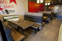 Mexil Design Goody's Burger House Thessaloniki #mexil #burger #thessaloniki #sofas Thessaloniki, Corner Desk, Sofas, Conference Room, Restaurant, Simple, Modern, Table, House