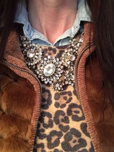 Leopard + fur + chambray. Groopdealz statement necklace. Winter layers. Style fashion outfit. @kristy_tatum Instagram