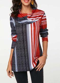 e2d9966045f Long Sleeve Cowl Neck Printed Tunic T Shirt | modlily.com - USD $27.83 Long