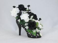 Black and White Rose Floral Arrangement in a Ceramic Black and White Polka Dot High Heel Shoe Vase - Home Decor - Silk Flower Arrangement