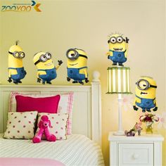 Cheap sticker wall decal, Buy Quality wall stickers ship directly from China wall stickers bedroom Suppliers: lovely minions wall sticker diy adesivos de paredes cartoon home decals movie mural art poster toilet room deco Removable Wall Stickers, Wall Stickers Home, Wall Decals, Vinyl Decals, Nursery Room Decor, Kids Bedroom, Bedroom Decor, Kids Rooms, Wallpaper Hp