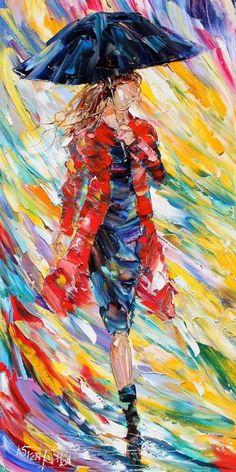 Colorful Paintings by Karen Tarlton: woman with umbrella and red coat in the rain.