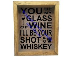 Wooden Shadow Box Wine Cork Holder 9x11  You be by WickedGoodDecor