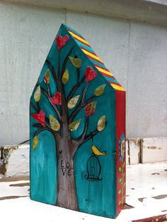 Yellow House Repurposed Art by evesjulia12 on Etsy, $22.00