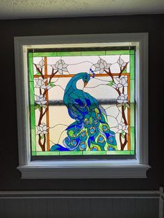 Inspired in our Item# 14659 Colorful Peacock Stained Glass Window Panel with custom coloring and sizing. Custom Stained Glass, Stained Glass Panels, Leaded Glass, Window Hanging, Window Panels, Custom Design, Logo Design, Flower Window, Custom Windows
