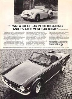 Vintage Black and White Triumph Car Ad Retro Ads, Vintage Advertisements, Vintage Ads, Vintage Photos, Vintage Black, Triumph Motor, Triumph Car, British Sports Cars, Great Ads