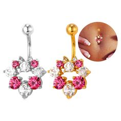Material: environmental friendly alloy, 18k gold plated/platinum plated, rhinestone. Package content: 1 belly button, paper card, OPP bag, silk pouch(gift)