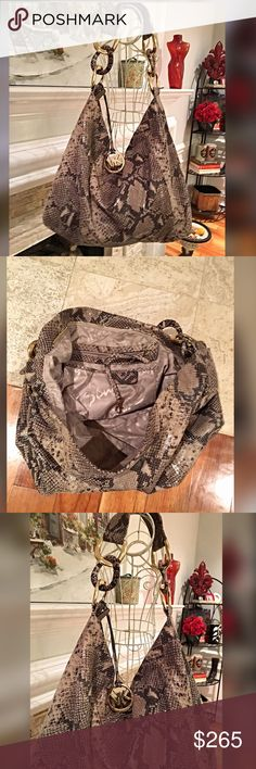 Michael Kors Super Large snakeskin hobo bag💋 Beautiful bag- carried once with a large comfortable strap with large gold tone rings- inside very spacious with key latch and several pockets and a full side zip pouch- gorgeous large logo ring attached to front - in perfect condition ❤️️ Michael Kors Bags Hobos