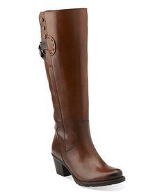 Cognac Maymie Stellar Leather Boot #zulily #zulilyfinds