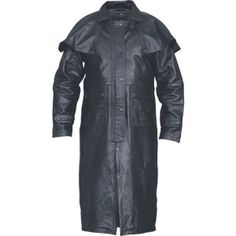 Allstate Biker Style Men Buffalo Leather Motorcycle Duster with Cape made of buffalo leather with 2 front pockets, lower hand warmer pockets., snap front closure, zip out liner, and leg straps with cape for men bikers and motorcycle riders. Mens Leather Coats, Long Leather Coat, Biker Leather, Black Leather, Leather Jackets, Real Leather, Men's Coats And Jackets, Biker Style, Western Wear
