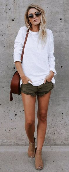 #summer #outfits Comfort In Cotton Top + Khaki Denim Short