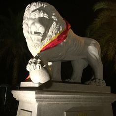 The lions on the bridge celebrated along with the whole city. Photo credit Julie Wesling