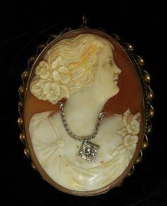 Vintage Edwardian Shell Cameo w/ Diamond Necklace Pendant Pin Gold Tone Jewelry