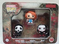 """New Funko Pocket Pop Tin Horror Vinyl Mini Figures, """"Ghost Face, Chucky, and Billy."""" Item will be shipped with care. Ghost Faces, Chucky, Vinyl Figures, Tin, Horror, Lunch Box, Pocket, Pewter, Bento Box"""