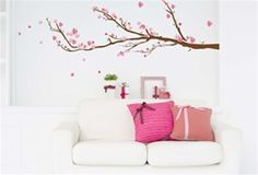 Cherry Blossoms - Peel N Stick Decoration - Beautiful Wall Stickers For Spicing Up Dorm Rooms