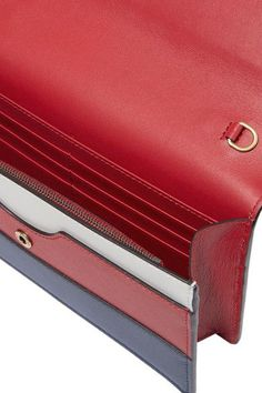 Navy, crimson and white leather (Calf) Snap-fastening front flap Weighs approximately 1.3lbs/ 0.6kg Made in Italy