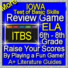 ITBS (Iowa Test of Basic Skills) PowerPoint Jeopardy style review game for the IOWA test for ELA Reading grades 6 - 8. This game is a fun way to prepare students for this test.  It could be played by a single child, or as a whole class review (small groups).