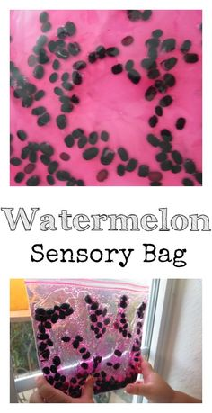 Watermelon Sensory Bag. Takes less than a minute to set up. Perfect Summer Sensory Play without the mess.