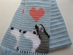 Husky Dog Scarf. Baby blue crochet scarf with gray and by hooknsaw, $42.00