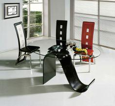 Einmaliges Esszimmer Mit Neuen Stühlen   Einmaliges Esszimmer Mit Neuen  Stühlen Modern Schwarz Rot Glasplatte