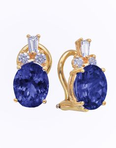 14KT Yellow Gold Sapphire Earrings