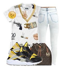 """""""Bored"""" by cutieforeal ❤ liked on Polyvore featuring Nicki Minaj, MICHAEL Michael Kors and NIKE"""