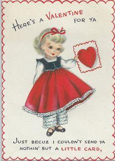 Vintage Greting Card - Valentine's Day Valentine Sweet Blonde Girl Ruffled…