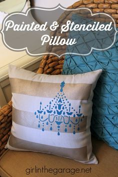 Painted and Stenciled Pillow #tulipforyourhome - girlinthegarage.net