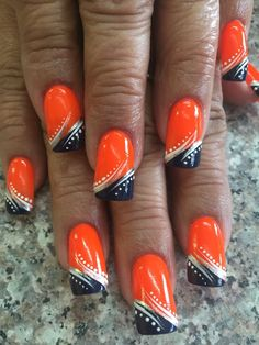 Halloween Nail Art Ideas that are Creepy and Spooktastic! : Halloween Pumpkin na. - - Halloween Nail Art Ideas that are Creepy and Spooktastic! Football Nail Designs, Football Nail Art, Halloween Nail Designs, Halloween Nail Art, Scary Halloween, Halloween Ideas, Halloween Costumes, Fancy Nails, Cute Nails