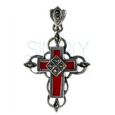 Red Coral Cross Pendant - outlined in silver with a zig zag pattern, at the end of each side is a silver loop with a marquise shape filled with marcasite. There is a silver loop behind the center of the cross as well. A diamond shaped pattern sits on top of the coral in the center of the cross and contains four sections, each with a single marcasite. The clasp for the chain is a silver marquise pattern with marcasite.  http://simplybeautiful2012.com/red-coral-cross-pendant.html#