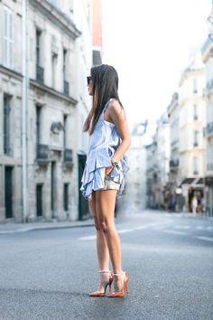 Wendy's Lookbook. Layering. Top :: Marissa Webb pinstripe top, Marissa Webb lace top Bottom :: Alice + Olivia shorts D'orsay pointed toe heels :: Henri Lepore Dezert. Beauty on High Heels #Fashion