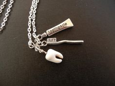 Milk Tooth Paste and Brush Necklace by Kadeena on Etsy, $13.00
