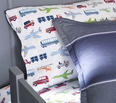 Cars, trucks, buses and planes whiz by on this soft sheeting. Based on original illustrations, favorite vehicles are printed in bright, eye-catching colors. Transportation Nursery, Boy Nursery Bedding, Twin Sheet Sets, Pottery Barn Kids, Boy Room, Big Boys, Pillow Cases, Man Room, Boy Rooms