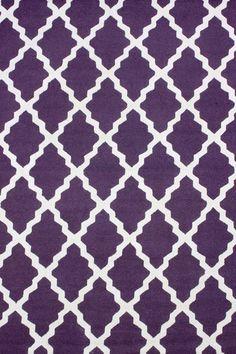 Meknes Trellis 100% Wool Hand-Hooked Area Rug in Purple design by NuLoom