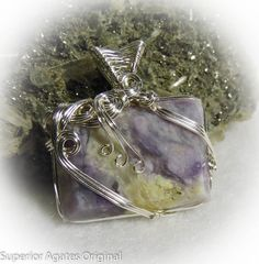 Purple Mexican Opal Wire Wrapped Stone Pendant by superioragates, $35.00