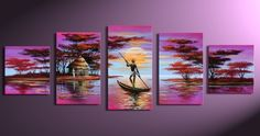 free shipping hand painted home decoration high quality modern abstract  large Africa wall art oil paintings on canvas 5sets/pcs on AliExpress.com. $47.00