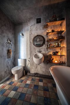 Take your bathroom design into the realm of industrial home design with these inspirational bathroom designs and industrial bathroom accessories. Awesome Industrial Style Lighting Plans To Accent Your Spa Industrial Bathroom Accessories, Industrial Bathroom Design, Vintage Industrial Furniture, Industrial House, Industrial Interiors, Industrial Style, Rustic Furniture, Industrial Stairs, Industrial Shelving