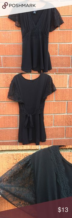 Black Torrid top w/ lace sleeves and collar Good condition 👍🏼 torrid Tops Blouses